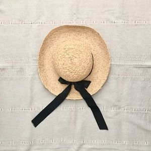 Vintage Natural Straw Sun Hat With Black Bow
